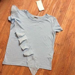 Zara Ruffle Front Shirt in Sky Blue Small NWT